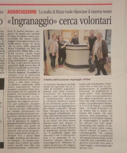 Settembre 2017 - Ingranaggio e la ricerca volontari